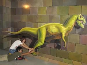恐竜のトリックアート